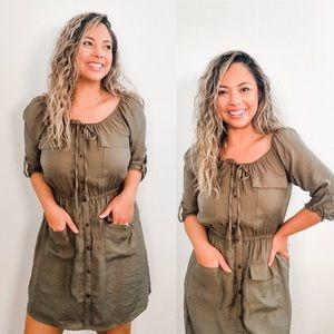 Olive Green Pocket Dress